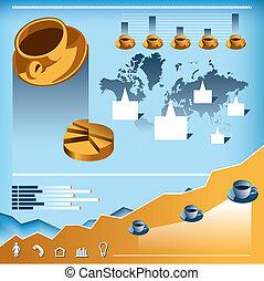 kaffe, infographics, vektor, sätta