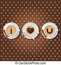kaffe, kärlek, dig, ord, kopp