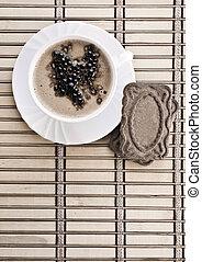 kaffe, komposition, i, cappuchino, på, dim
