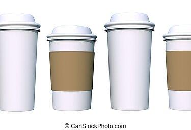 kaffe kopp, isolerat, vit