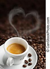 kaffe kopp, med, heart-, format, ånga, fond, av, kaffe böna