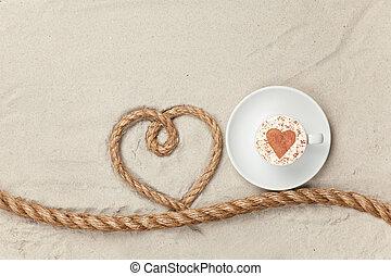 kaffe kopp, nära, hjärta gestalta, rep