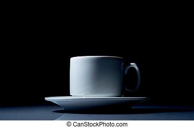 kaffe kopp, uppe, svart fond, nära