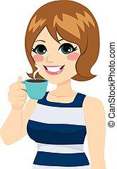 kaffe, kvinde, har