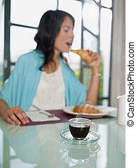 kaffe, kvinna, espresso, frukost, ha