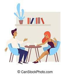 kaffe, kvinna, par, datera, bord, drickande, cafe, man