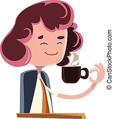 kaffe, kvinnor, drickande