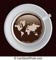 kaffe, med, karta