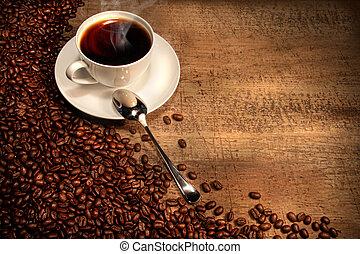 kaffe med mjölk, kopp, med, bönor, på, rustik, bord
