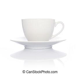 kaffe med mjölk, kopp, vita, bakgrund