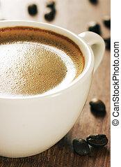 kaffe, närbild, kopp