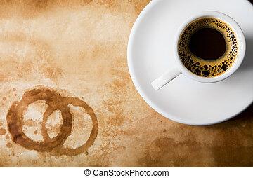 kaffe, på, gammal, papper, med, runda, kaffe, fläckar