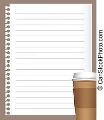 kaffe, papper, anteckningsbok