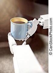 kaffe, räcker, robot, kopp
