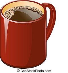 kaffe, röd kopp