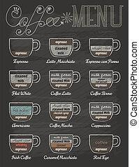 kaffe satte, årgång, stil, chalkboard, meny