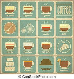 kaffe satte, etiketter