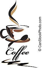 kaffe, skönhet, kopp