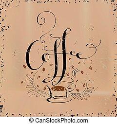 kaffe, skapande, kalligrafi, design