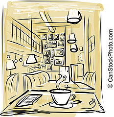 kaffe, skiss, morgon, design, cafe, din