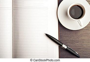 kaffe, skrivbord, penna, anteckningsbok, tom, vit, öppna