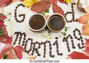 kaffe, startknapp, bakgrund, morgon