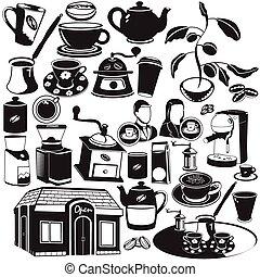 kaffe, svart, ikonen