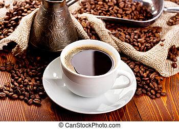 kaffe, svart, kopp