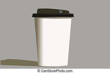 kaffe, tidning kopp
