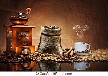 kaffe, tilbehør, på, dim