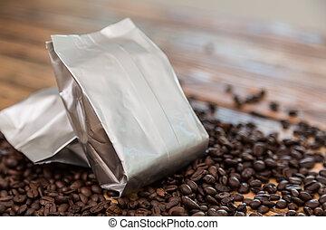 kaffe, väska, florett, ved, bord, färsk