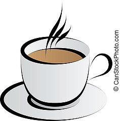 kaffe, vektor, kopp