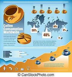 kaffe, vektor, sæt, infographics