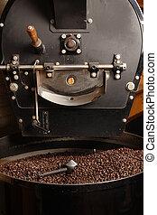 kaffebrännare, svarat, bönor, kaffe