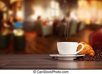 kaffee getränk, in, cafeteria