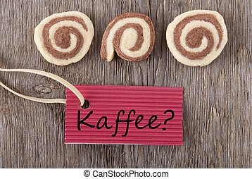 Kaffee on a red label