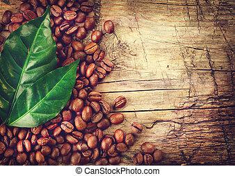 kaffeebohnen, aus, holz, hintergrund