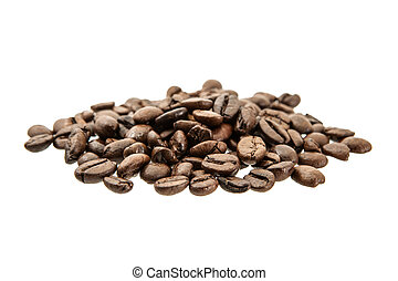 kaffeebohnen, freigestellt, auf, white.