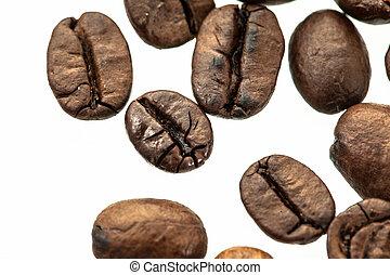kaffeebohnen, freigestellt, weiß