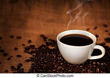 kaffeetasse, auf, gebraten, kaffeebohnen