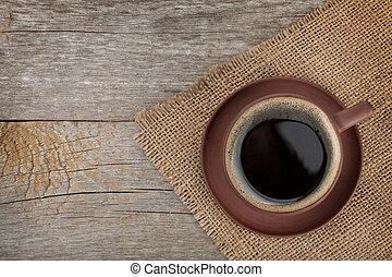 kaffeetasse, auf, holztisch, beschaffenheit