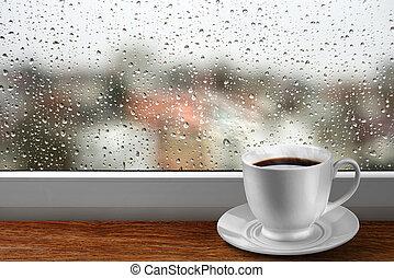 kaffeetasse, gegen, fenster, mit, regnerischer tag, ansicht