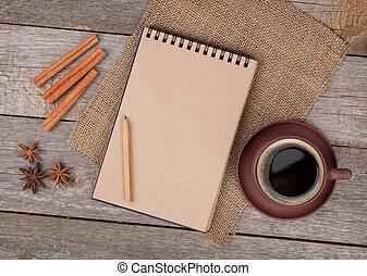 kaffeetasse, hölzern, notizblock, leer, tisch, gewürz