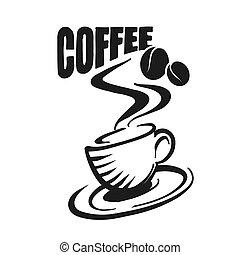 Kaffeetasse mit Bohnen und historischer Typo