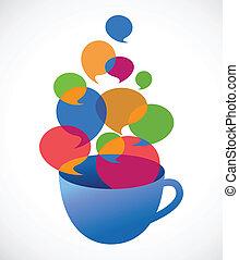 kaffeetasse, mit, sprechblasen