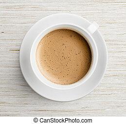 kaffeetasse, oberseite, schaum, tisch, ansicht