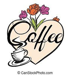 Kaffeetasse und Herz mit Blumen