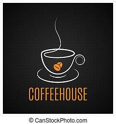 kaffeetasse, weinlese, dunkler hintergrund, logo