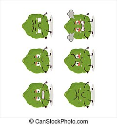 Kaffir lime fruit cartoon character with various angry expressions