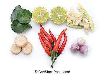 kaffir lime leaf, lemon, chopped lemongrass, galangal, chili...